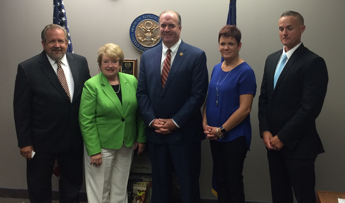 (L-R) Al Blinke (GM WNEM-TV), Karole L. White (MAB President), Congressman Dan Kildee (D-5), Jayne Hodak (News Director WJRT-TV), Chad Conklin (GM, Sinclair WEYI/WSMH-TV).